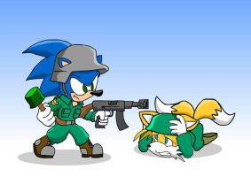 Soldier Sonic and Tails by TAddict