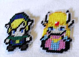Plastic Canvas Link and Zelda Magnets by agorby00