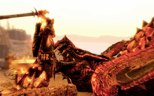 Skyrim - Dragonborn's Dragon Kill action shot by Alexe-Arts