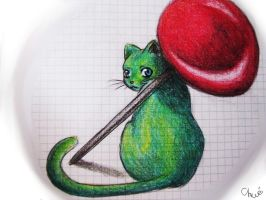 a green cat by chwee