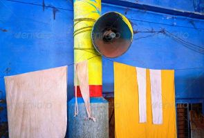 Blue wall with megaphone by version-four
