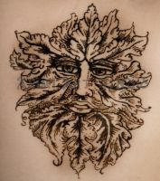Green Man in henna by LemonNinja