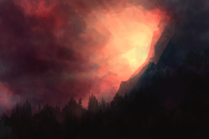 Speedpaint :: Mountain Sunrise by MissWiggle