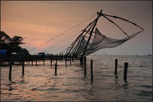 Chinese Fishing Nets in Kerala by IgorLaptev