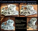 Wood burned badge commission--Furrfox by J-C