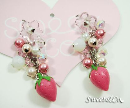 Strawberry Pearl Earrings by SweetandCo