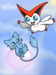 victini and mew by sasodeifangirl13
