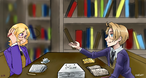 In the Library .:APH:.:Collab: by ShiShiMarshMellow