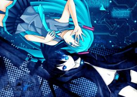 miku and black rock shooter by jacky5493