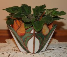 Tulip Vase With Plant by lenslady