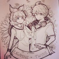 Kagamine Twins - inktober 1111014 by Mishhe-KHT