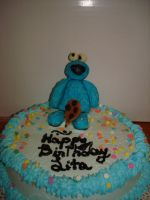 Cookie Monster Cake by EzmasFortune