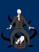 Slender Man and Retarded Cousin - Sketch - Colored by Sintoxicated