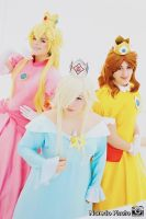 Peach, Rosalina and Daisy by rocknroler