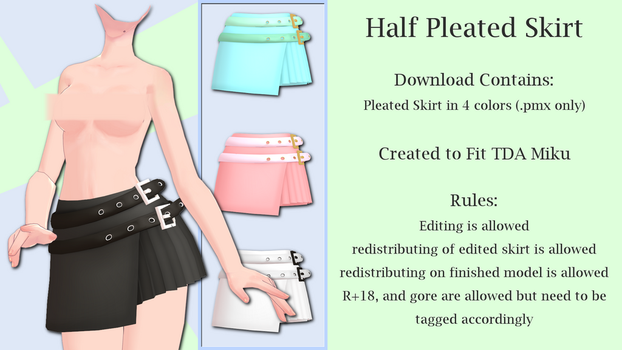 MMD Half Pleated Skirt DL by Arneth-Myndraavn