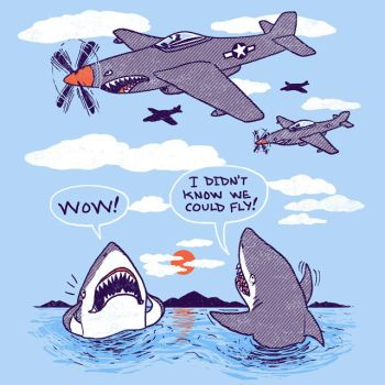Flying Sharks by HillaryWhiteRabbit