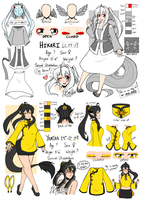[OC] Hikari and Yamina Reference Sheet by LightDarkSoySauce