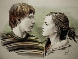 RON and HERMIONE by karlyilustraciones