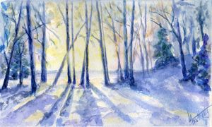 Winter landscape 21. Watercolour. by alartstudio