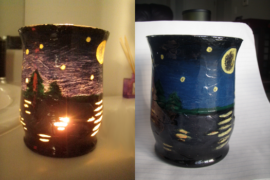 Moon on lake Painted Candle by VerbumX