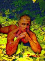 boy laying on leaves by gmotier