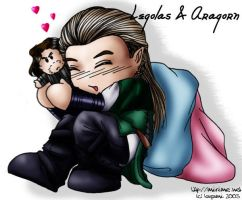 Chibi Legolas and Aragorn by mirime
