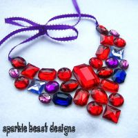 Red Queen Rhinestone Necklace by Natalie526