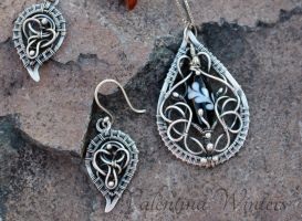 Wire wrapped necklace made from fine silver by WVal