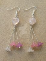 Rose Quartz Earrings with Flowers by WhiteMagicPriestess