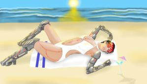 Robot Lady on the Beach by Obsidian-Scion