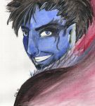 Painted blue face by HarleyTheGreat