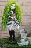 Monster High custom repaint Beetlejuices daughter by Rach-Hells-Dollhaus