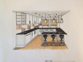 Interior: Kitchen 1 point perspective by TheBIF94