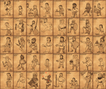 ancient people trading cards by foojer