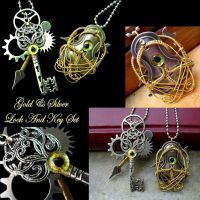 Steampunk Gear Lock and Key Pendants Gold Silver by LadyPirotessa