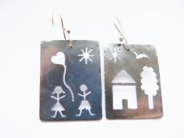 patinated funny earrings by irineja