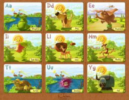 ABC Cards for Kids. English set. by creaturedesign