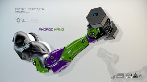 Bright robotic arm holds dumbbell with sensors by Ociacia