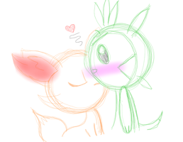 Chespin x Fennekin by PuccaFanGirl