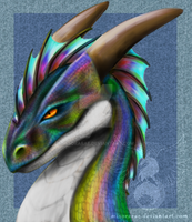 Rainbow Dragon Bust by MisoraRae