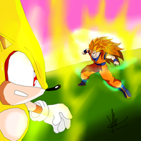 SOLAR CLASH 3 - SSJ3 GOKU VS SUPER SONIC by kaiserkleylson