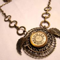 Time Flies Clockwork Necklace by SteamSociety