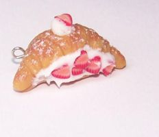 Strawberry Croissant Charm by PookieTookieJewelry