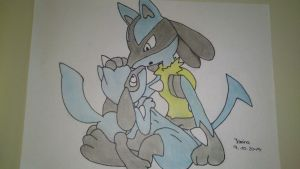 Lucario and Riolu by Ithary