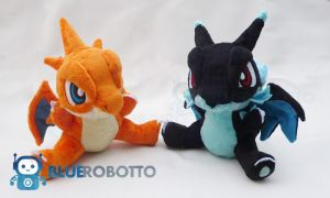 X and Y Mega Charizard twins by BlueRobotto