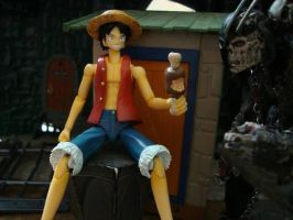 One Piece - Luffy and Frankenstein's monster by stopmotionOSkun
