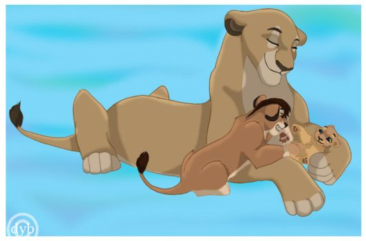 Queen and her cubs by dyb