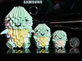 group of 3d origami turtles by BAZZ1392