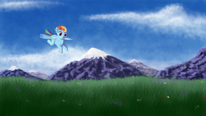 Flying Pone and Mountains by DormantFlame