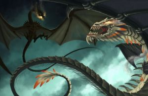 Quetzalcoatl vs The Nidhogg by ThranTantra
